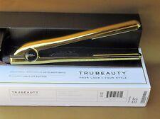 "TRU BEAUTY GOLD Titanium Plates 1"" Flat Straightening Iron Auto Shut Off NIB"