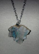 Carved Signed Trifari Abalone Shell/Mother-of-Pearl? Leaf Pendant Necklace Chain
