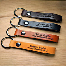 Leather Key Chain Keyring Personalised Engraved Handmade Custom Name Gift
