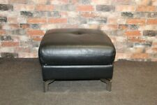 WORLD OF LEATHER GENOA STORAGE FOOTSTOOL IN SATIN BLACK LEATHER (688)