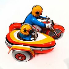 TINPLATE MOTORBIKE AND SIDECAR WIND UP ANTIQUE STYLE