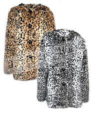 Hip Length Outdoor Button Faux Fur Coats & Jackets for Women