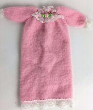 Vintage Barbie Doll Nightgown 1990's Flower Lace Fleece Pink