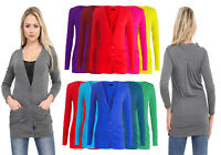 WOMEN LONG SLEEVE BUTTON BOYFRIEND CARDIGAN WITH POCKETS PLUS SIZES 8--26