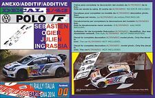 ANEXO DECAL 1/43 VOLKSWAGEN POLO R WRC S.OGIER R.ITALIA 2014 WINNER (01)