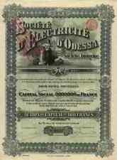 Société D'Électricité D'Odessa 1910 Bruxelles Brüssel Titres Anciens 100 Francs