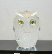 "Swarovski Crystal 7636 Nr 60 Large 2.5"" Owl Retired Green / Yellow Eyes 2.5�"