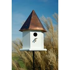 Heartwood Copper Songbird Deluxe Bird House - White w/Brown Copper Roof 143B NEW