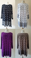 NEW LADIES FLORAL BLACK  PAISLEY SMOCK TOP TUNIC PLUS SIZE 18-32 MADE IN UK