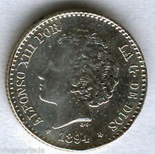 Alfonso XIII 50 Centimos 1894 Bucles @ EXCELENTE @