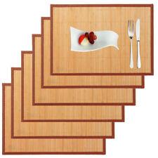 6 X Set de Table Bambou Nature Nappe dessous