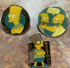 3 Vintage Simpsons Pins Lot 1990 Matt Groening Homer Bart - Bartman