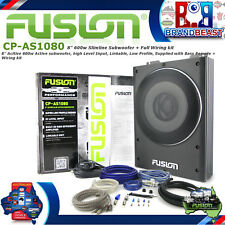 "Fusion Cp-as1080 8"" 600w Slim Car Active Subwoofer Inbuilt Amp Great 4 Utes Kit"