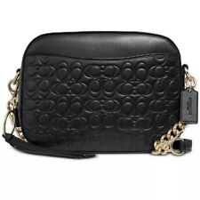 ❤️ Coach Camera 39184 in Signature Embossed Leather Black/Gold Bag