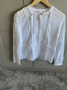 ZARA White Blouse with Broderie Anglaise Size Medium
