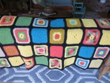 Vintage AFGHAN Granny Square Lap Blanket Throw  eeuc