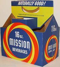 Vintage soda pop bottle carton MISSION BEVERAGES unused new old stock n-mint+
