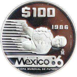 Mexico 100 Pesos 1986 Soccer World Cup, 1 oz. .925 fine silver PROOF. KM# 521