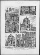 1888 Antique Print - LONDON Westminster Abbey Campo Santo Mausoleum   (340)
