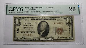 $10 1929 King City Missouri MO National Currency Bank Note Bill #6383 VF20 PMG