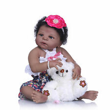 "Reborn Newborn Black Girl Anatomically Correct Baby Full Body Silicone Dolls 23"""