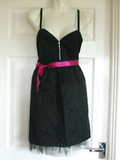 SIZE 12 Summer BLACK ZIP DRESS Womens PARTY Ladies Work Sleeveless Smart EVENING