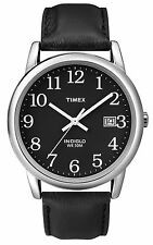 Mens Timex Easy Reader Indiglo Black Leather Black Dial with Date Watch T2N370