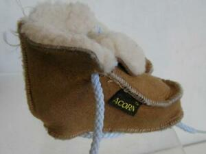 Acorn Baby Shearling suede Moc Slippers Size 0-6 Toddler US w/ blue & pink laces