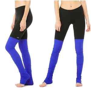 Alo Yoga Goddess Black Ribbed Blue Leggings