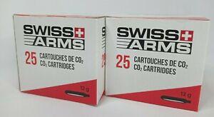 Airsoft Lot de 2 BOITES X25  Cartouches de CO2 SWISS ARMS 12g neuf en stock