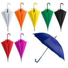 Coloured Automatic Plastic Crook Handle Umbrella Brolly Walking Wedding Outdoor
