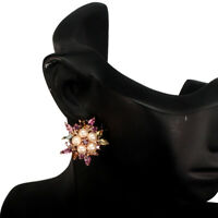 Marquise Tourmaline 5x2.5mm Pearl Rhodolite Garnet 925 Sterling Silver Earrings