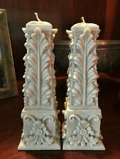 Set of Two Ornate Grey Candles