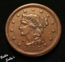 1856 Braided Hair Large Cent <> Upright 5 <> Xf Details