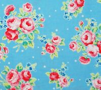 Flower Sugar Rose Kiss Baby Blue Pink Shabby Cotton Quilting Fabric Lecien Japan