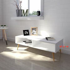 White Retro Coffee Table Scandinavian TV Stand Vintage Room Furniture Wood Legs