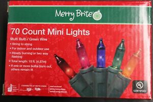 70 Count Mini Lights Multi Color Bulbs Green Wire Indoor Outdoor Festive Party