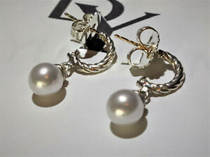 David yurman Solari Hoop Earrings with Diamonds and White Pearl