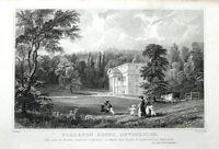 DEVON TOTNES, FOLLATON HOUSE Allom Steel Engraved Antique Print  1832