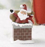 Primitive Christmas Resin Figurine Santa in Chimney Blossom Bucket Suzi Skoglund