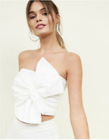 ex New Look White Bandeau Bralet Bow Top Size 6 8 10 12 14 16  Boob Tube Crop