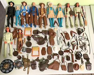 HUGE LOT Vintage Marx Johnny & Jane West Action Figures, Geronimo + Accessories