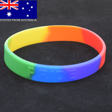 Gay Pride Wristband - Gay Lesbian Pride Embossed Rainbow Silicone Bracelet LGBT