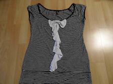 EKSEPT schönes gestreiftes Shirt schwarz weiß m. Schleife Gr. L TOP ZC316