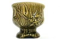 HTF Vintage McCoy Brush Pottery Green Mushroom Pedestal Planter Avocado Olive