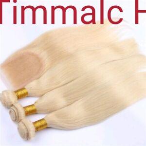 12A Brazilian Human Hair Weft 3/4 Bundles+Lace Top Closure=Full Head BLONDE 613#