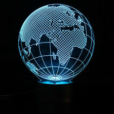 Globe Map - New 3D LED Night Light Desk Lamp, 3D Illusion Acrylic LED Table Lamp