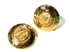Bijou alliage doré Boucles d'oreilles créateur  Clips Yves St Laurent  earrings