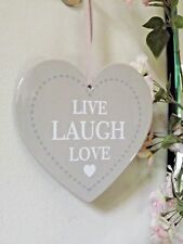 Live Laugh Love Ceramic Hanging Heart - Taupe