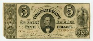 1861 T-34 $5 The Confederate States of America Note - CIVIL WAR Era